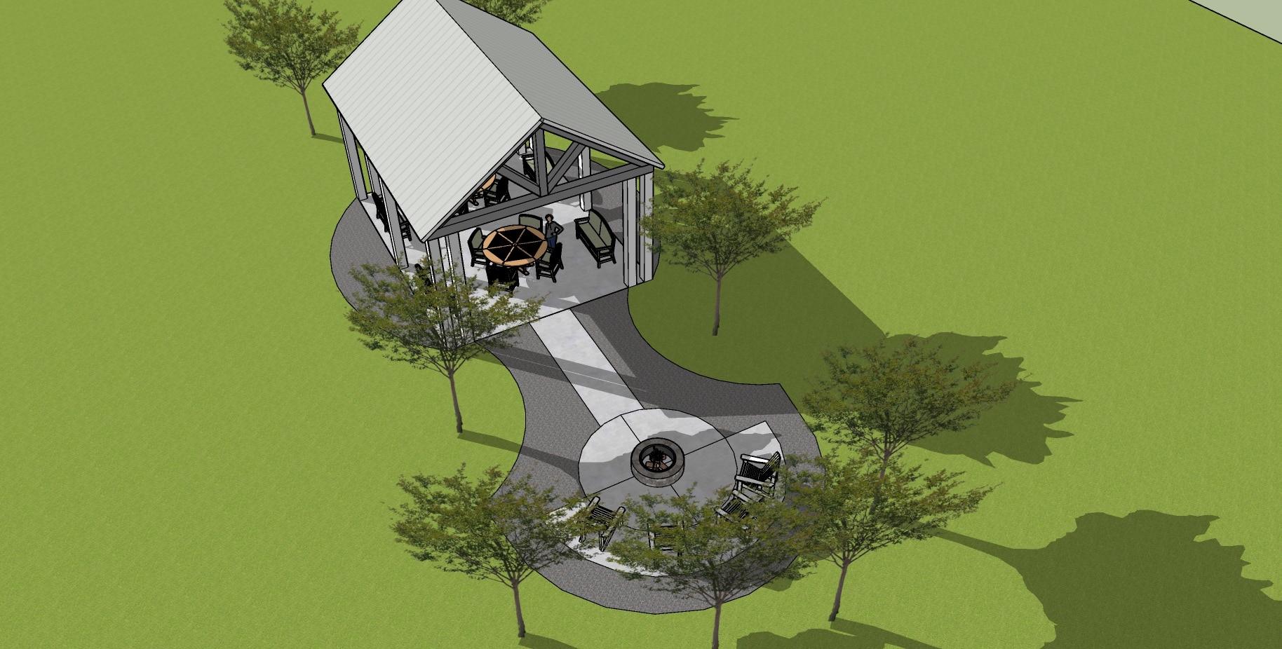 Aerial Shot of Cornerstone Pavilion Drawing